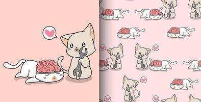 Seamless pattern hand drawn kawaii cat looking at brain