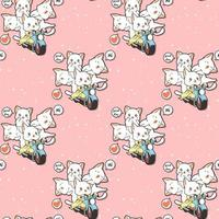 Seamless kawaii cat friends are riding motorcycle pattern