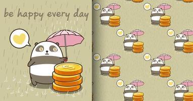 Seamless kawaii panda character protecting coins pattern vector