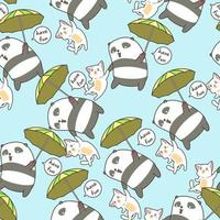 Seamless panda and cat flying with umbrella pattern