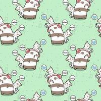Seamless kawaii panda and cats are relaxing pattern