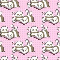 Seamless kawaii pandas and cats reading book pattern