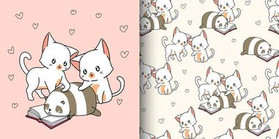 2 cute cats and panda reading text book pattern vector
