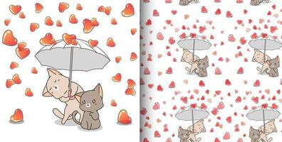Cats holding umbrella while it rains hearts pattern vector