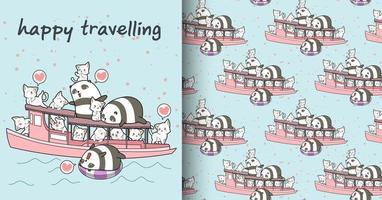 Seamless kawaii pandas and cats on boat holiday pattern