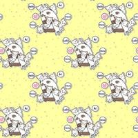 Seamless kawaii panda and friends cartoon style pattern
