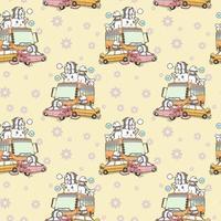 Seamless kawaii pandas and giant cat car accident pattern