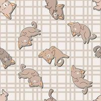 Seamless pattern adorable brown cat characters