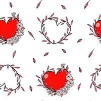 Seamless pattern heart in vine for Valentine's day vector
