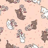 Seamless pattern adorable cat holding flower on pink