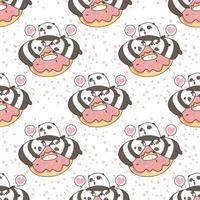 Seamless kawaii pandas with pink doughnut pattern vector