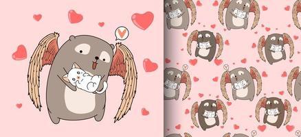patrón sin costuras adorable cupido oso abrazando gato vector