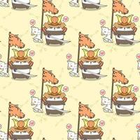 kawaii, samurai, panda, y, gato, tenencia, bandera, patrón vector
