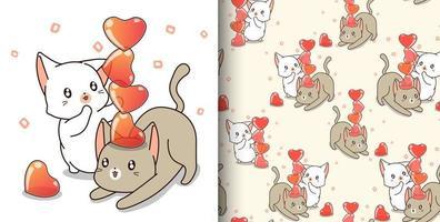 personajes de gato de patrones sin fisuras están jugando corazones de gelatina