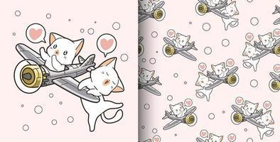 patrón sin costuras dibujado a mano 2 gatos kawaii montando avión vector