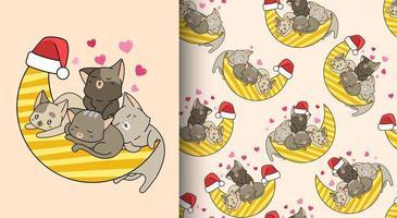 Seamless pattern kawaii cats and the moon