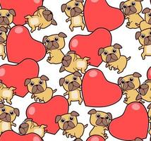 Seamless pattern adorable dogs and hearts