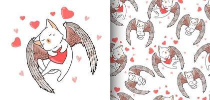 Patrón sin fisuras kawaii cupido cat con fondo de corazón