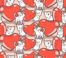 gatos kawaii de patrones sin fisuras y corazones de gelatina