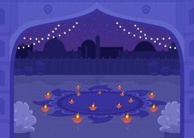 velas de diya para celebración vector
