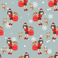 Seamless pattern Santa girl with gift bag and reindeer cat