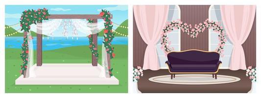 lugar de la boda plana vector