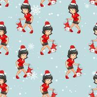 Seamless pattern adorable girl catching lovely Santa cat vector