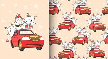 Seamless pattern kawaii Santa cat and friend with car