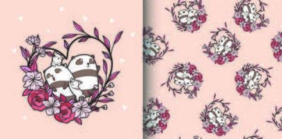 Seamless pattern pandas and cats with heart flower vector