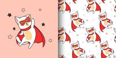 Seamless pattern super hero cat in cartoon style