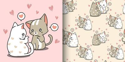 Kawaii couple cats whispering love with hearts pattern