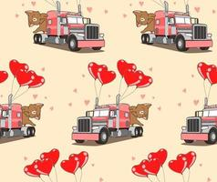 Seamless pattern adorable cat on the truck of love vector