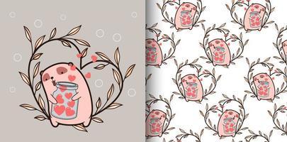 Seamless pattern kawaii bear holding heart and heart vine vector