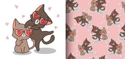 Seamless pattern kawaii cats are wearing heart glasses