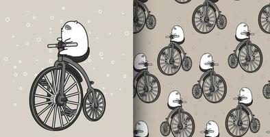 Seamless pattern white bear riding vintage bicycle vector