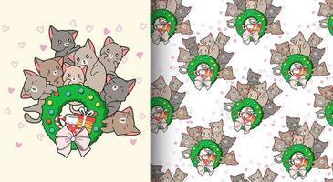 gatos kawaii de patrones sin fisuras amorosos alrededor de la corona de navidad