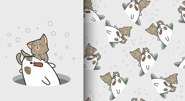 Seamless pattern kawaii cat and bear characters in hole vector