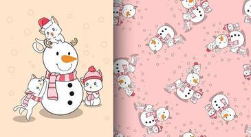 gatos kawaii con muñeco de nieve de patrones sin fisuras vector