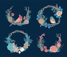 Set of winter wreaths. vector
