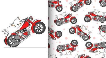 Seamless pattern kawaii cat riding red motorcycle vector