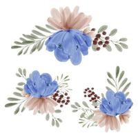 Watercolor floral arrangement collection hand painted style vector