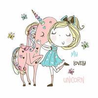 dulce niña con un unicornio mágico