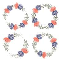 Peony floral circle frame collection watercolor hand painted style vector