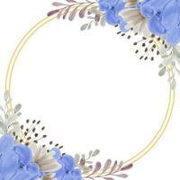 marco de flor de peonía azul acuarela con círculo dorado
