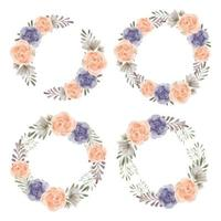 Rose watercolor floral wreath set for decoration element vector