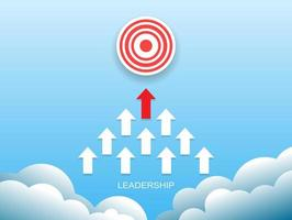 leadership concept with red and white arrow on blue sky. vector