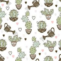 Seamless pattern with cactus in pots and watering pots