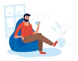 mujer usando su teléfono inteligente en casa vector