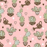 Seamless pattern with cactus in pots and watering pot