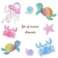Set of cute sea animals